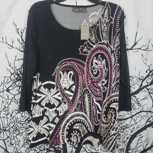 {NWT} Chicos | Black & Purple 3/4 Sleeve Blouse 2